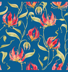 Watercolor gloriosa rothschildiana pattern vector