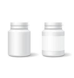 white medicine plastic bottle for tablets pills vector image vector image