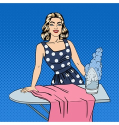 Woman Ironing Clothes Girl Doing House Work vector image