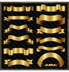Decorative ornate gold ribbons vector image