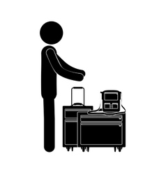 Black silhouette person with baggage vector