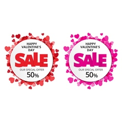 Valentine love label with red and pink heart vector