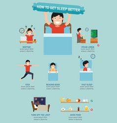 How to get sleep better infographic vector