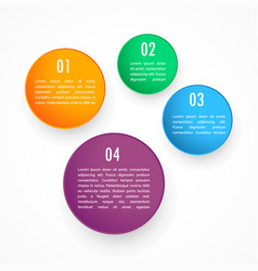 Colorful four circles steps infographic template vector