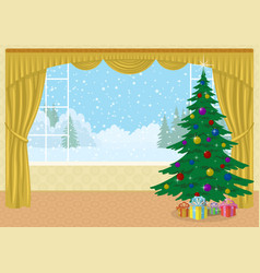Room with christmas tree and gifts vector
