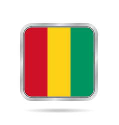 Flag of guinea shiny metallic gray square button vector