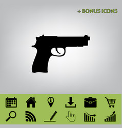 Gun sign   black icon at gray vector
