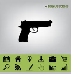 gun sign   black icon at gray vector image