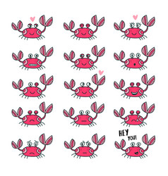 Emoticons set of cute crab in cartoon style vector