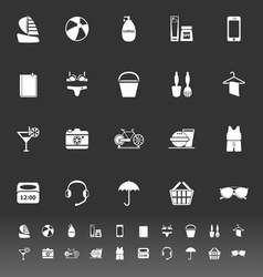 Beach icons on gray background vector