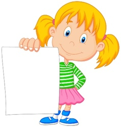 Cartoon girl holding blank paper vector image