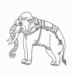 White elephanttraditional thai art vector