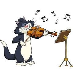 Cat playing the violin vector