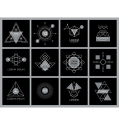Futuristic geometric hipster elements and logos vector