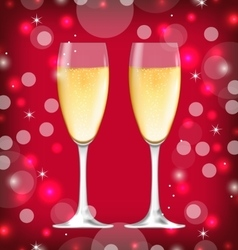 Background with realistic glasses of champagne vector