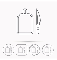 Separating board icon kitchen knife sign vector