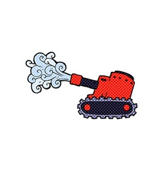Comic cartoon army tank vector