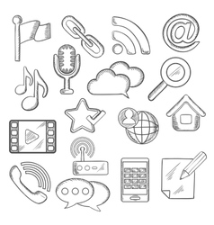 Multimedia and communication sketched icons vector