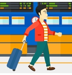 Man walking with suitcase vector