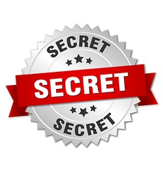 Secret 3d silver badge with red ribbon vector