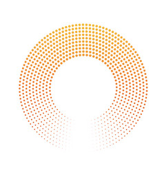abstract ring of dots halftone effect with orange vector image
