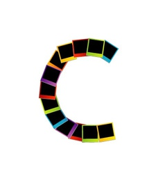 Alphabet C with colorful polaroids vector image
