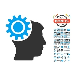 Brain gear icon with 2017 year bonus symbols vector