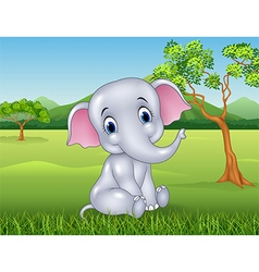 Cartoon funny baby elephant in the jungle vector