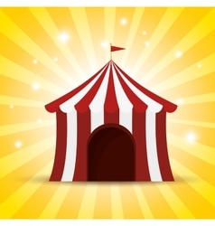 Circus tent red and white shine background vector