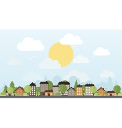 City and trees vector
