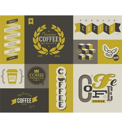Coffee labels and emblems - collection of design vector image