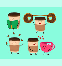 coffee paper cup flat style cartoon vector image vector image