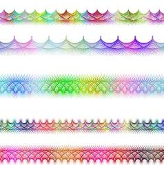 Color fractal page divider line design set vector