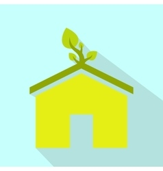 Eco house flat icon vector