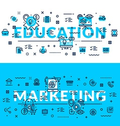 Education and marketing headings titles web banner vector
