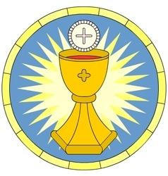 Eucharist christian symbol circular emblem vector