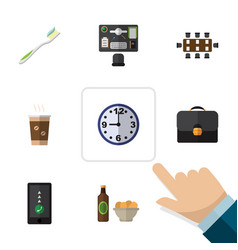Flat icon life set of briefcase cappuccino beer vector
