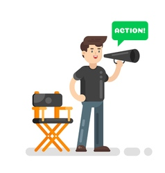 Flat style of movie director vector