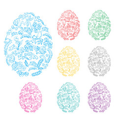 floral decorative easter eggs - holiday symbol vector image vector image