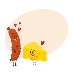 funny cheese chunk and frankfurter sausage vector image vector image
