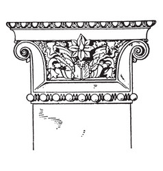 Greek-ionic pilaster capital influence vintage vector