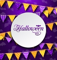 Halloween greeting card with colored bunting vector