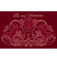 Happy valentines day card in vintage rich royal vector