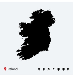 High detailed map of ireland with navigation pins vector