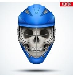 Human skull with lacrosse helmet vector