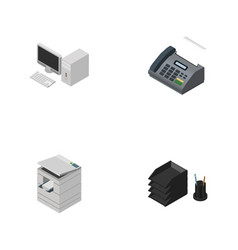 Isometric business set of computer desk file rack vector