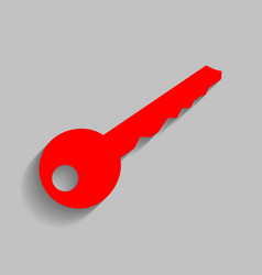 Key sign red icon with soft vector
