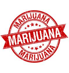 Marijuana grunge retro red isolated ribbon stamp vector