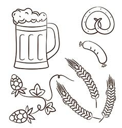 Octoberfest cartoon beer design elements vector image vector image