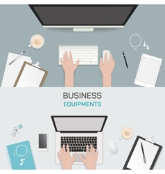Office object business activity flat vector